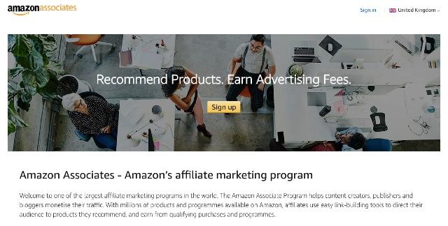 Captura de ecrã da página inicial do site do Afiliados Amazon.