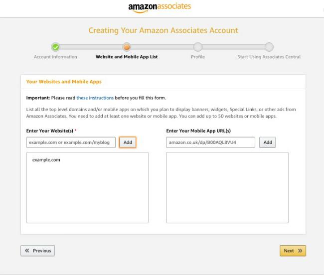 Captura de ecrã que demonstra como adicionar os sites de Afiliados à conta Afiliados Amazon.
