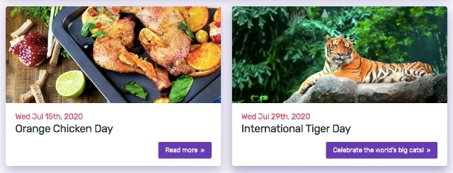 Snímek obrazovky s webovými stránkami o speciálních dnech roku. Tyto speciální příležitosti jsou skvělým zdrojem úprav Vašeho kalendáře obsahu.