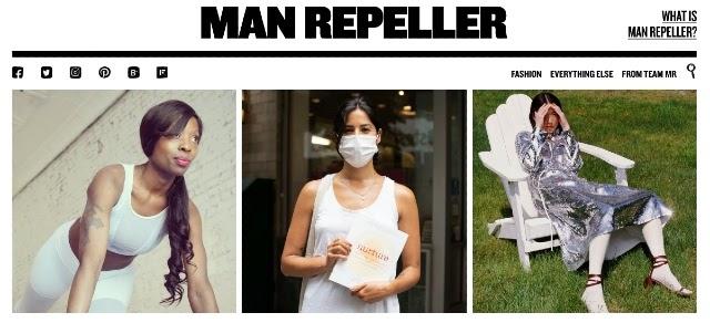 Captura de ecrã do blogue de moda Man Repeller, uma boa fonte de inspiração para encontrar temas de blogue para o seu calendário de conteúdos.