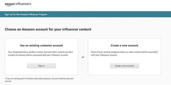 stránka pro registraci do Amazon Influencer Programu