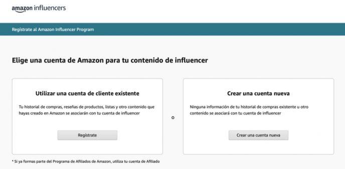 Página para unirse a Amazon Influencer Program