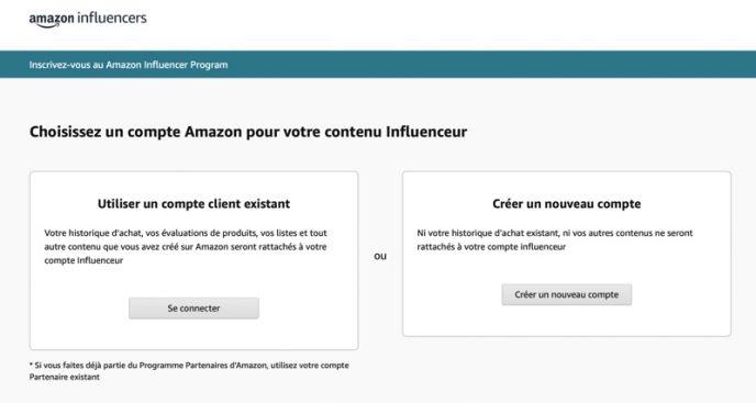 Page d'inscription à l'Amazon Influencer Program