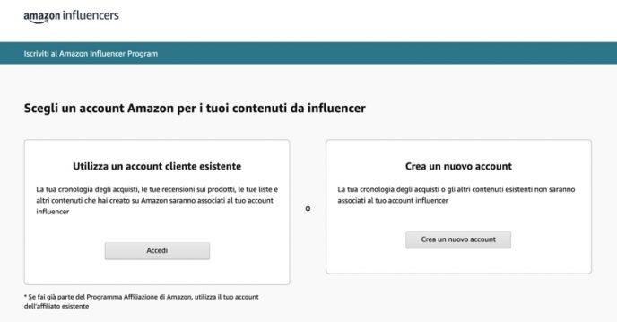 Pagina d'iscrizione all'Influencer Program di Amazon
