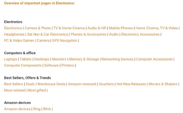 Databáze Tipy a triky v programu Amazon Společníci - přehled důležitých podkategorií v hlavní kategorii Elektronika.