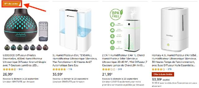 Liste des résultats de recherche pour les humidificateurs Amazon, avec images. La meilleure vente porte une mention orange.