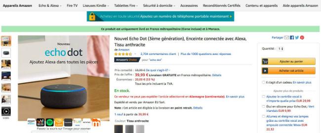 Echo dot sur la page produit d'Amazon. Exemple de méthode à suivre pour trouver des produits en vogue à l'aide des avis des consommateurs.