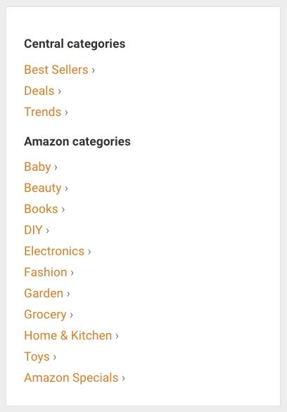 Amazon Partner Tips & Tricks database categorielijst. Hier kun je makkelijk veelbelovende producten vinden.