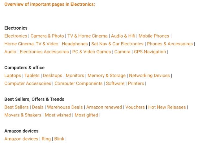 Amazon Partner Tips & Tricks database overzicht van belangrijke pagina's voor de categorie elektronica.
