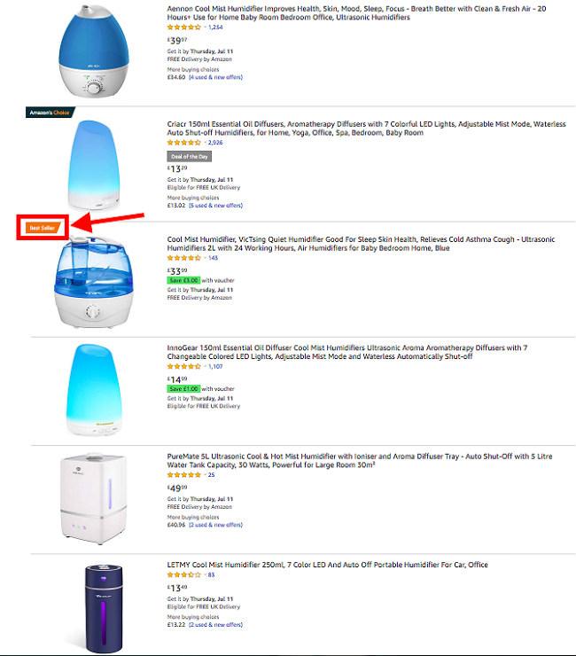 Resimlerle birlikte Amazon nem aygıtları arama sonuçları listesi. Çok satanlar turuncu etiketle gösterilir