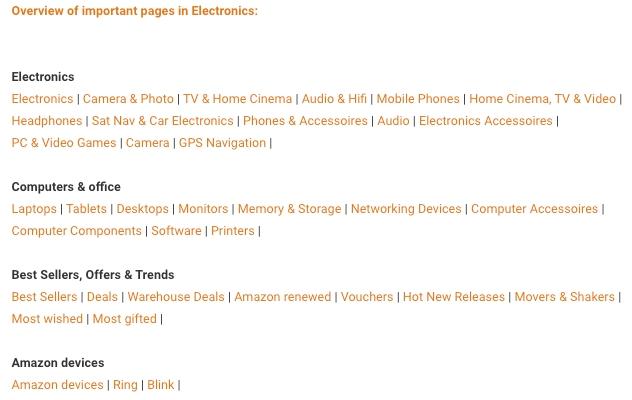 Elektronik kategorisinin önemli sayfalarına Amazon gelir ortaklığı ipuçları ve tüyolar veritabanından genel bakış.