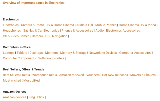 Amazon associates tips & tricks database overview of important pages for category electronics.