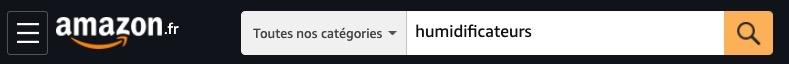 Page d'Amazon.co.uk donnant les humidificateurs comme exemple de recherche des meilleures ventes