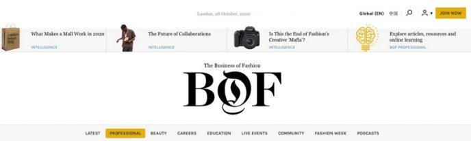 Header der Business of Fashion-Website in schwarzer Schrift. Tägliche Nachrichten für Fashionblogger.