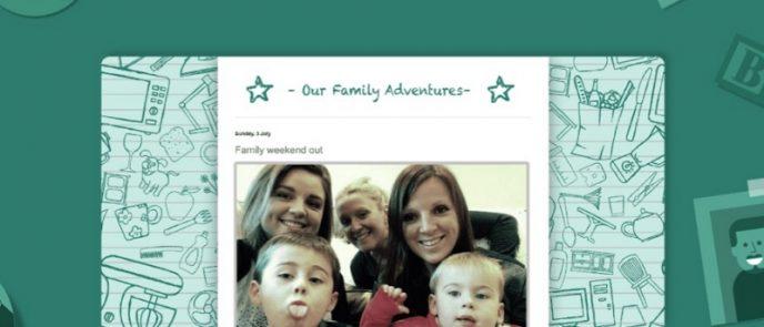 Screenshot zeigt Familienmitglieder mit Kindern auf einem Foto, welches auf einer Webseite implementiert wurde. Screenshot eines Anbieters für Hosten von Webseiten.