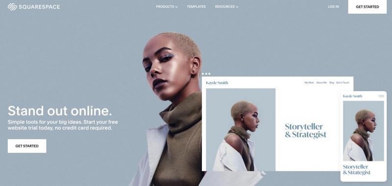 Head turned sideways woman with short hairs. Fashion blogging hosting platform example.