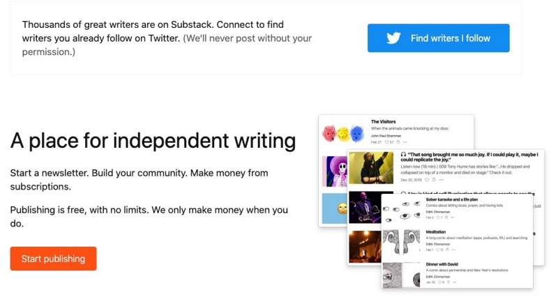 Substack publishing provider website screenshot. Income streams for fashion bloggers example.