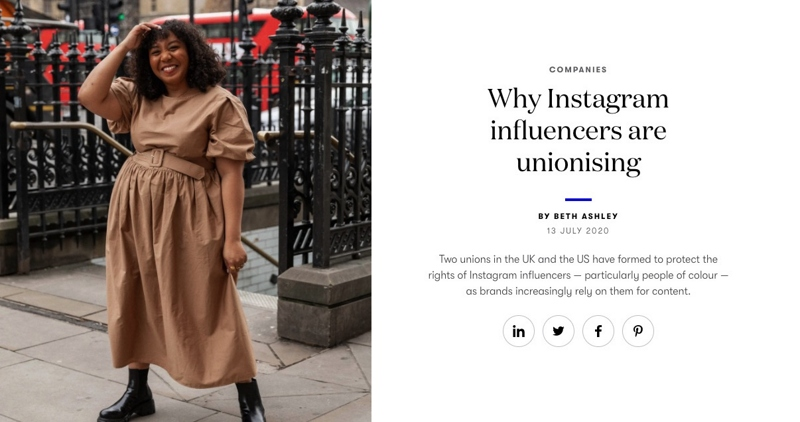 Woman in front of a staircase. Vogue business article screenshot why Instagram influencers are unionising.