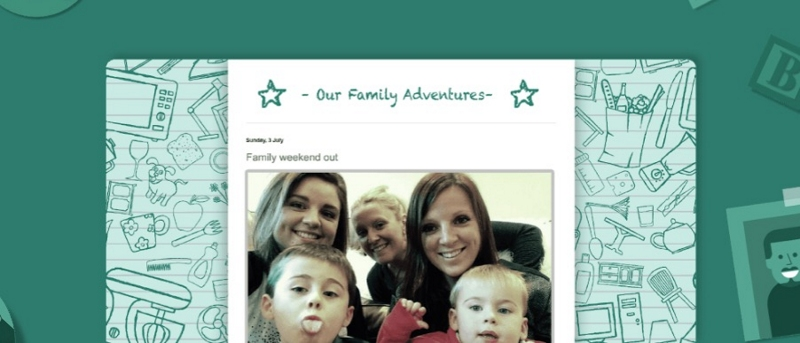 Photo of family members including children implemented on a website. Fashion blog hosting platform example for blogger.