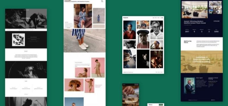 Image of various wordpress blogs. Fashion blogging hosting platform examples.