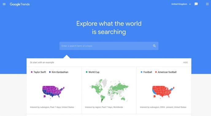 Zrzut ekranu strony głównej Google Trends. To narzędzie oferuje przegląd wyszukiwanych haseł w danej chwili.