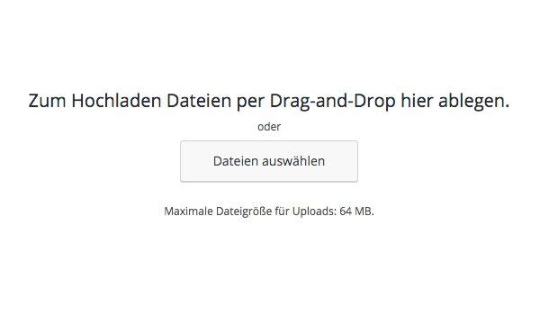 Integration Datei hinzufügen Drag and Drop
