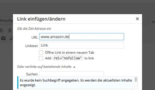 Integration Link einfügen Text