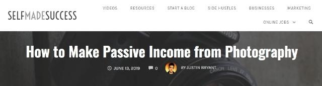 Pasif gelir kaynağına yönelik bir web sitesi olan selfmadesuccess'in başlığı. Sitede pasif gelire yönelik örnekler bulunmaktadır.