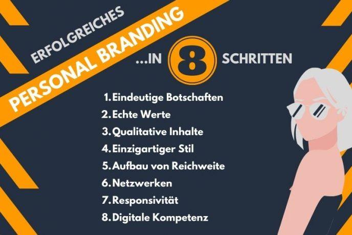 Eine Infografik beschreibt die wichtigsten Elemente des Personal Branding.