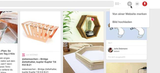 Pinterest affiliate links hinzufügen Browser