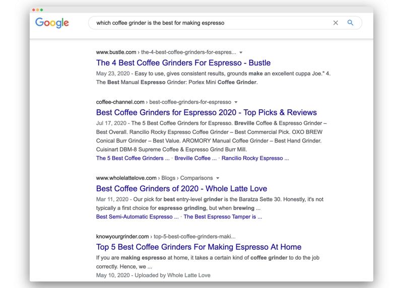 Du siehst eine Suchergebnisseite von Google. Das Google-Ranking zu verbessern, kann viel Zeit in Anspruch nehmen.