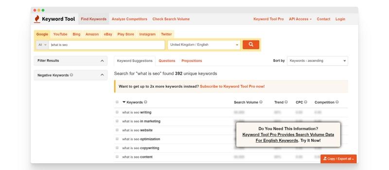 Ein Screenshot, der die Features von Keyword Tool zeigt.