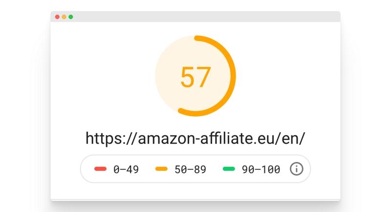 Du siehst einen Screenshot eines Tools, das die Seitengeschwindigkeit mit einem Score von 0 bis 100 analysiert.