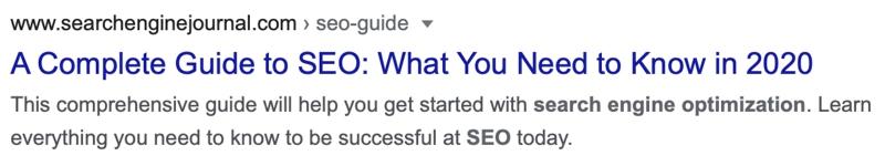 Dieser Screenshot zeigt, wie Meta Title und Meta Description in Google dargestellt werden.