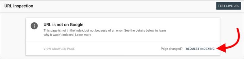 Dieser Screenshot zeigt, was die Google Search Console anzeigt, wenn deine URL noch nicht indexiert ist. Jetzt wirst du lernen, wie du sie an den Google-Index sendest und darum bittest, dass sie aufgenommen wir