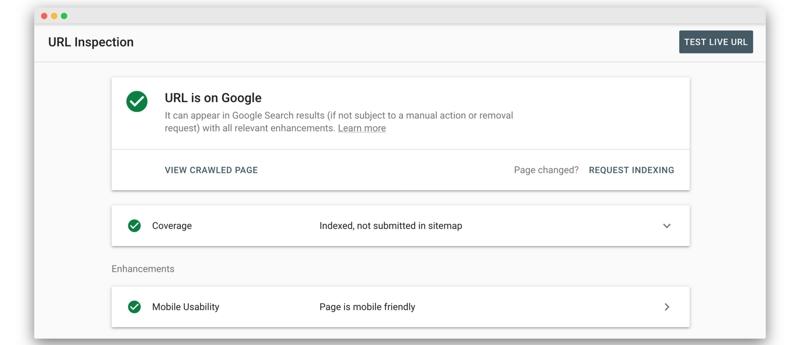 Dieser Screenshot zeigt, ob eine URL in den Google-Index aufgenommen wurde und ob sie in den Google-Suchergebnissen angezeigt wird. Das nun folgende Kapitel widmet sich dem Gegenteil - der De-Indexierung.
