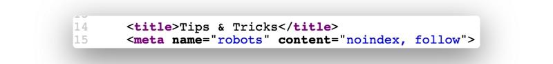 Ein Screenshot, der zeigt wie meine URL in der meta robots mit dem Befehl 'noindex' taggt.
