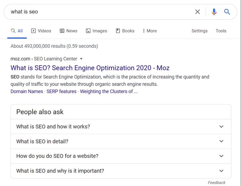 You see a screenshot of a Google search results page focussing on the People also ask section. These suggested questions should be included in the subheadings of your blog post to achieve a better Google ranking.