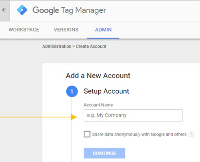 Steps to set up Google Tag Manager