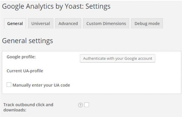 Setting up google analytics Yoast