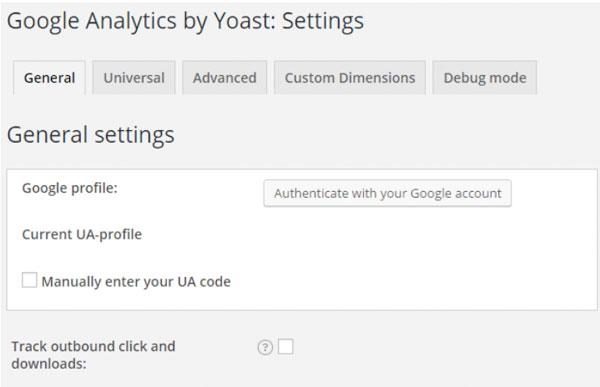 Setting up google analytics Yoast
