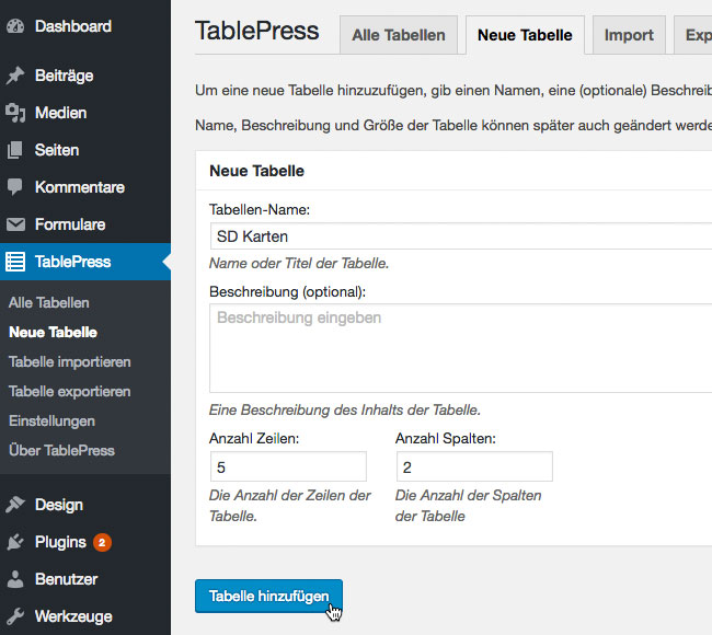 tablepress-neue-tabelle