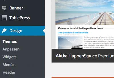 Themes wordpress installieren Menü