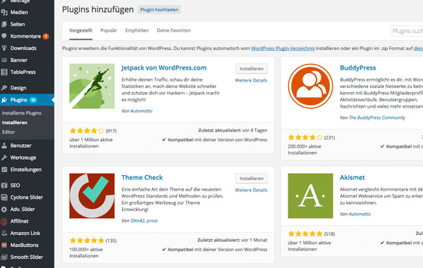Plugins wordpress Auswahl