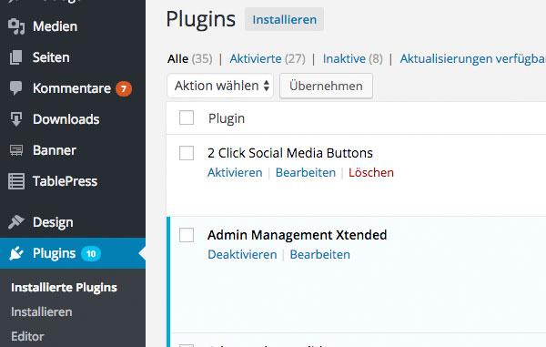 Plugins wordpress installieren