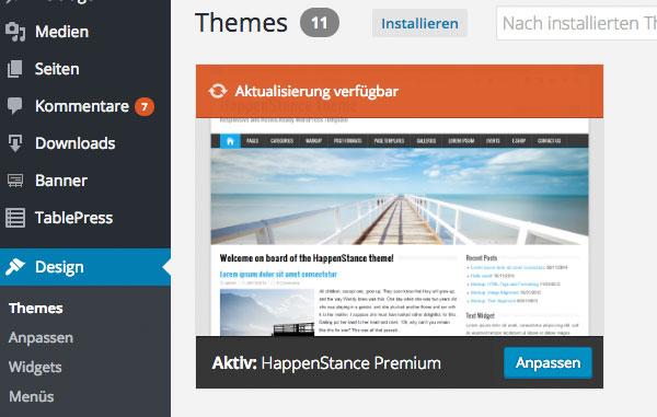 Themes wordpress installieren