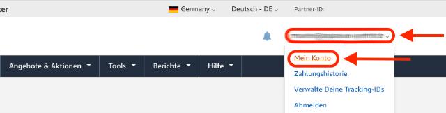 Screenshot des Amazon PartnerNet Dropdown-Menü mit dem Menüpunkt Mein konto.