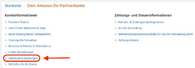 Screenshot zeigt die kontoinformationen des Amazon PartnerNet