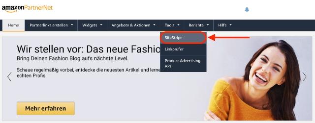 Screenshot zeigt das SiteStripe Auswahlmenü im Amazon PartnerNet