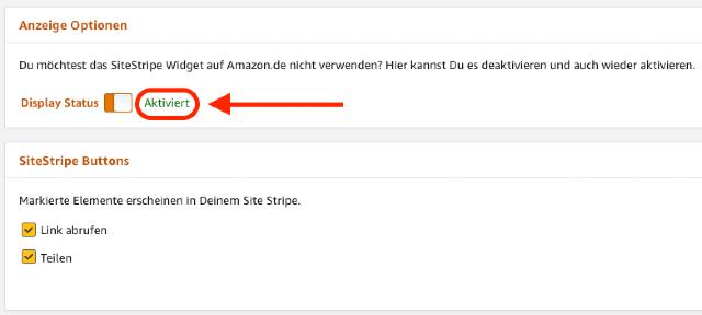 Der Screenshot zeigt den aktivierten Display Status in den SiteStripe Anzeige Optionen.